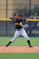 Pittsburgh Pirates shortstop Pablo Reyes (12) during an Instructional League game against the Tampa Bay Rays on September 27, 2014 at the Charlotte Sports Park in Port Charlotte, Florida.  (Mike Janes/Four Seam Images)