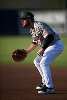 Inland Empire 66ers first baseman Jared Walsh (21) during a California League game against the Lancaster JetHawks at San Manuel Stadium on May 19, 2018 in San Bernardino, California. Inland Empire defeated Lancaster 9-6. (Zachary Lucy/Four Seam Images)