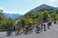 PUY MARY CANTAL, FRANCE - SEPTEMBER 05 : Illustration picture showing the escape pack during stage 13 of the 107th edition of the 2020 Tour de France cycling race, a stage of 170 kms with start in Chatel-Guyon and finish in Puy Mary Cantal on September 5, 2020 in Puy Mary Cantal, France, 5/09/2020