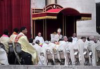 Pope Francis canonization mass for Euphrasia Eluvathingal, friar Francescano Amato Ronconi, bishop Antonio Farina, priest Kuriakose Elias Chavara, friar Francescano Nicola Saggio da Longobardi and friar Francescano Amato Ronconi in St Peter's square at the Vatican on November 23, 2014.