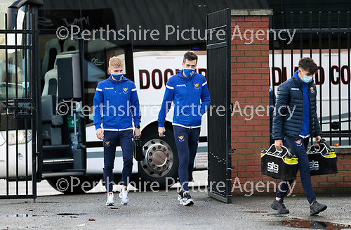 St Mirren v St Johnstone…19.12.20   St Mirren Park      SPFL<br />Ali McCann and Callum Booth step off the team coach as they arrive at St Mirren Park<br />Picture by Graeme Hart.<br />Copyright Perthshire Picture Agency<br />Tel: 01738 623350  Mobile: 07990 594431