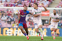 29th August 2021; Nou Camp, Barcelona, Spain; La Liga football league, FC Barcelona versus Getafe;  Memphis Depay of FC Barcelona clashes with Maksimovic of Getafe