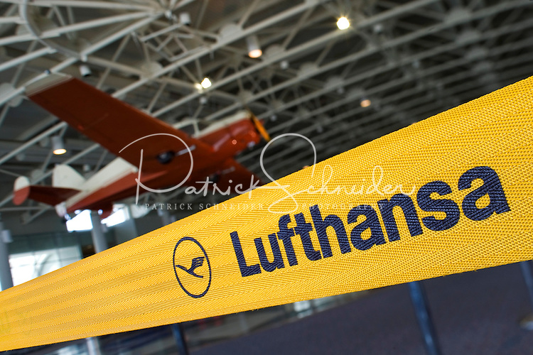 A Lufthansa banner welcomes travelers in Charlotte-Douglas International Airport...Charlotte-Douglas International Airport, one of US Airways' largest hubs, serves 10 major airlines, including Air Canada, Air Tran, American, Continental, Delta, JetBlue, Lufthansa, Northwest and United. The airport is the nation?s 10th largest in terms of total operations, the 18th largest in terms of total passengers and the 37th largest in terms of cargo. Charlotte-Douglas serves 640 daily flights, including direct flights to 120 cities. ..Photographer has series of images from Charlotte-Douglas International Airport, including aerials. ... PATRICK SCHNEIDER PHOTO.COM