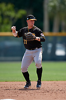 Pittsburgh Pirates Matt Morrow (23) during a minor league Spring Training game against the Philadelphia Phillies on March 13, 2019 at Pirate City in Bradenton, Florida.  (Mike Janes/Four Seam Images)