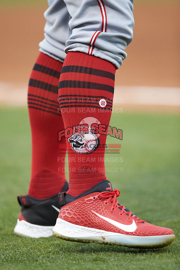 A closeup of the socks worn by a Louisville Bats player during the game against the Charlotte Hornets at BB&T BallPark on June 22, 2019 in Charlotte, North Carolina. The Hornets defeated the Bats 7-6. (Brian Westerholt/Four Seam Images)