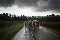Maarten Tjallingii (NLD/LottoNL-Jumbo) driving the peloton over flooded roads under a menacing sky in his very last professional race<br /> <br /> stage 3: Buchten - Buchten (NLD/210km)<br /> 30th Ster ZLM Toer 2016