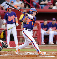 Outfielder Dominic Attanasio (1) of the Clemson Tigers in a game against the South Carolina Gamecocks on March 3, 2012, at Carolina Stadium in Columbia, South Carolina. Carolina won, 9-6. (Tom Priddy/Four Seam Images)