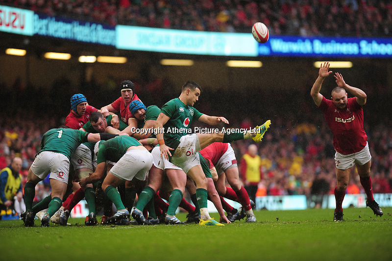 Pictured: Conor Murray of Ireland in action during the Guinness six nations match between Wales and Ireland at the Principality Stadium, Cardiff, Wales, UK.<br /> Saturday 16 March 2019