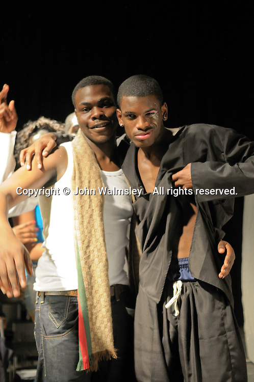 Celebrations at the end of a multi-cultural charity Fashion Show put on by students reflecting the wide cultural diversity of the student base at Kingston College.