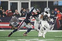 FOXBOROUGH, MA - NOVEMBER 24: New England Patriots Linebacker Jamie Collins #58 approaches to tackle Dallas Cowboys Runningback Tony Pollard #20 during a game between Dallas Cowboys and New England Patriots at Gillettes on November 24, 2019 in Foxborough, Massachusetts.