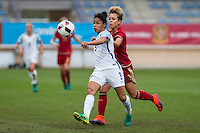 England's Demi Stokes and Spain's Amanda Sampedro during the frendly match between woman teams of  Spain and England at Fernando Escartin Stadium in Guadalajara, Spain. October 25, 2016. (ALTERPHOTOS/Rodrigo Jimenez) /NORTEPHOTO.COM