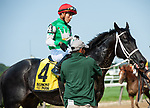 July 5, 2021: Ridin With Biden, ridden by Irad Ortiz, Jr., after his 2nd place finish in the 2021 running of the G3 Dwyer S. at Belmont Park in Elmont, NY. Sophie Shore/ESW/CSM