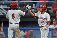 Auburn Doubledays outfielder Dale Carey (8) high fives designated hitter Adderling Ruiz (13) after an in the park home run during a game against the Batavia Muckdogs on August 27, 2014 at Dwyer Stadium in Batavia, New York.  Auburn defeated Batavia 6-4.  (Mike Janes/Four Seam Images)