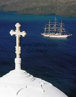 Greece; Cyclades; Santorini; Fira (Thira): white dome, cruise ship / clipper anchoring in front of island Nea Kameni