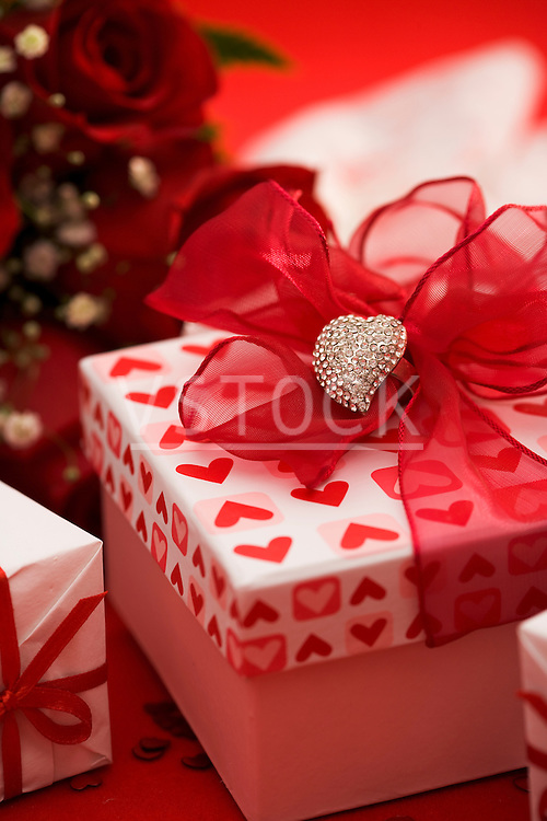 Gift box decorated with silver heart