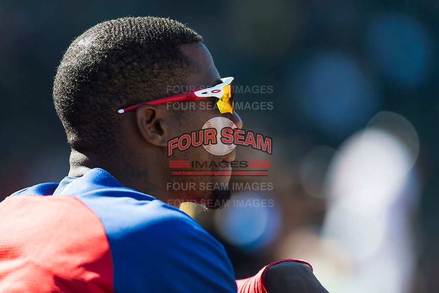 Surprise Saguaros outfielder Julio Pablo Martinez (40), of the Texas Rangers organization, in the dugout during an Arizona Fall League game against the Peoria Javelinas at Surprise Stadium on October 17, 2018 in Surprise, Arizona. (Zachary Lucy/Four Seam Images)