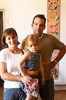 Jerome Bressy with family. Domaine Gourt de Mautens, Rasteau. Rhone. Owner winemaker. France Europe.