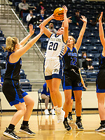 Laynee Tapp (20) of Bentonville West takes a shot against Taylor Treadwell (33) of Rogers at Wolverine Arena, Centerton,  AR, Tuesday, January 12, 2021 / Special to NWA Democrat-Gazette/ David Beach