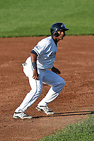 West Michigan Whitecaps third baseman Francisco Contreras (29) leads off second during a game against the Great Lakes Loons on June 5, 2014 at Fifth Third Ballpark in Comstock Park, Michigan.  West Michigan defeated Great Lakes 6-2.  (Mike Janes/Four Seam Images)