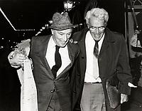 Montreal (Qc) CANADA -  Oct 21 1986 File Photo - Pierre Trudeau (L) leave the Ritz Hotel