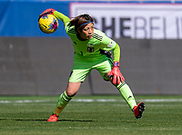 HARRISON, NJ - MARCH 08: Sakiko Ikeda #1 of Japan rolls the ball out during a game between England and Japan at Red Bull Arena on March 08, 2020 in Harrison, New Jersey.