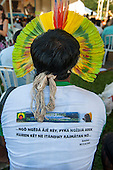United Nations Conference on Sustainable Development, Rio de Janeiro, Brazil, 2012. Kayapo Indian with feather headress.