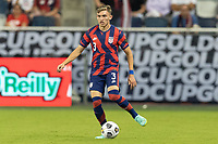 KANSAS CITY, KS - JULY 11: Sam Vines # 3 of the United States passes the ball during a game between Haiti and USMNT at Children's Mercy Park on July 11, 2021 in Kansas City, Kansas.