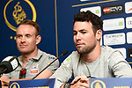 Mark Cavendish (GBR) Team Dimension Data and Alexander Kristoff (NOR) UAE Team Emirates at the top riders press conference for the Dubai Tour 2018 the Dubai Tour's 5th edition held at Dubai Frame in Zabeel Park, Dubai, United Arab Emirates. 5th February 2018.<br /> Picture: LaPresse/Massimo Paolone | Cyclefile<br /> <br /> <br /> All photos usage must carry mandatory copyright credit (© Cyclefile | LaPresse/Massimo Paolone)