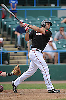 University of Louisville Cardinals outfielder Jeff Gardner (42) hits a home run during a game against the Temple University Owls at Campbell's Field on May 10, 2014 in Camden, New Jersey. Temple defeated Louisville 4-2.  (Tomasso DeRosa/ Four Seam Images)