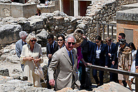 Pictured: Prince Charles and wife the Duchess of Cornwall at Knossos on the island of Crete, Greece. Friday 11 May 2018 <br /> Re:HRH Prnce Charles and his wife the Duchess of Cornwall visit the ancient site of Knossos near Heraklion, Greece.