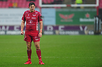 Dan Jones of Scarlets during the Guinness Pro14 Round 11 match between the Scarlets and Edinburgh Rugby at the Parc Y Scarlets in Llanelli, Wales, UK. Saturday 15 February 2020