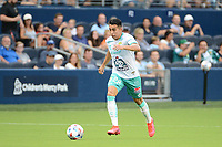 KANSAS CITY, KS - AUGUST 10: David Ramirez #28 Club Leon with the ball during a game between Club Leon and Sporting Kansas City at Children's Mercy Park on August 10, 2021 in Kansas City, Kansas.