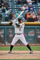 David Fletcher (15) of the Salt Lake Bees bats against the Sacramento River Cats at Smith's Ballpark on April 19, 2018 in Salt Lake City, Utah. Salt Lake defeated Sacramento 10-7. (Stephen Smith/Four Seam Images)