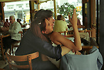 Young lovers in  lunch time cafe  Buenos Aires Argentina South America BsAs  2002 2000s