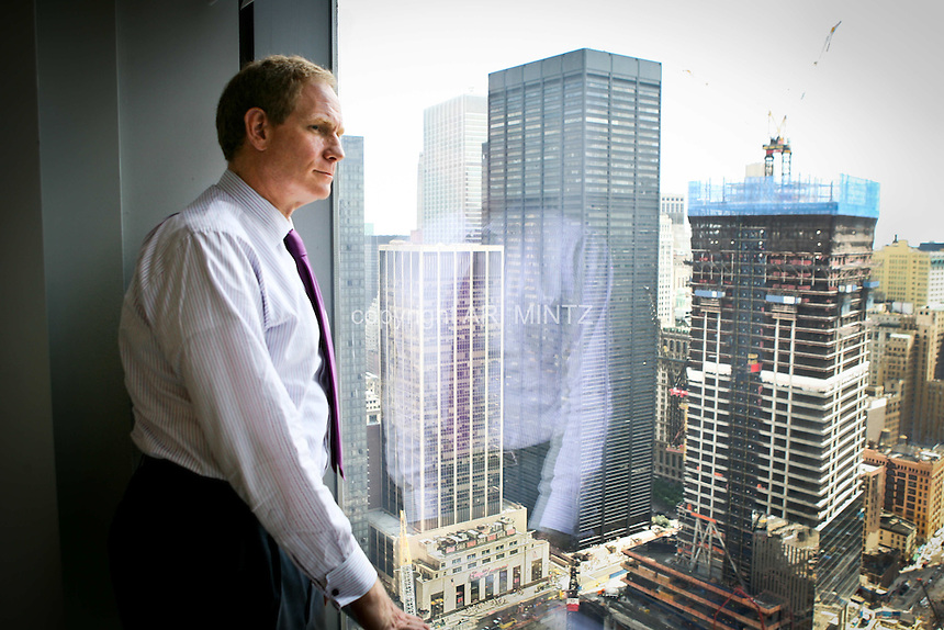 Tenth anniversary of 9/11.  Rebuilding at the World Trade Center site.   President of World Trade Center Properties LLC, Janno Lieber, in his office, is responsible for managing all aspects of the Silverstein organization's efforts to rebuild at the World Trade Center site.  Photo by Ari Mintz  8/11/2011.