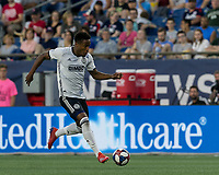 FOXBOROUGH, MA - JUNE 27: Sergio Santos #17 dribbles during a game between Philadelphia Union and New England Revolution at Gillette Stadium on June 27, 2019 in Foxborough, Massachusetts.
