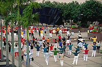Gathering of Taijiquan practitioners in a public center, Hong Kong, China