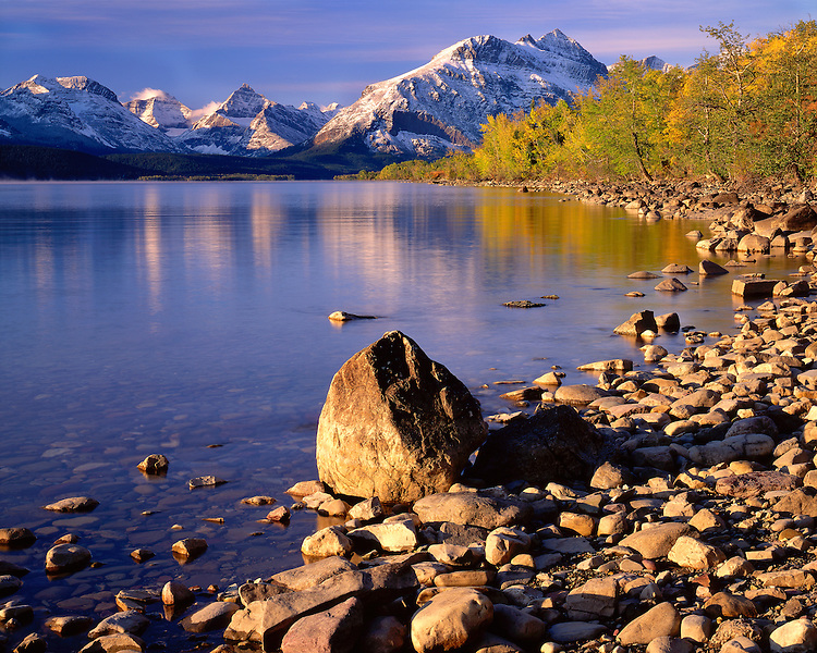 Sunrise l;ight on the shore of St. Mary Lake; Glacier National Park, MT
