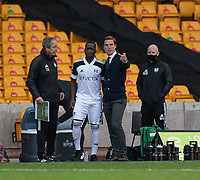 Fulham manager Scott Parker  (right)  give instruction to Fulham's substitue Neeskens Kebano (centre) who replaces Fulham's Bobby Reid <br /> <br /> Photographer David Horton/CameraSport<br /> <br /> The Premier League - Wolverhampton Wanderers v Fulham - Sunday 4th October 2020 - Molineux Stadium - Wolverhampton<br /> <br /> World Copyright © 2020 CameraSport. All rights reserved. 43 Linden Ave. Countesthorpe. Leicester. England. LE8 5PG - Tel: +44 (0) 116 277 4147 - admin@camerasport.com - www.camerasport.com