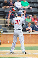 Joe McCarthy (31) of the Virginia Cavaliers at bat against the Wake Forest Demon Deacons at Wake Forest Baseball Park on May 17, 2014 in Winston-Salem, North Carolina.  The Demon Deacons defeated the Cavaliers 4-3.  (Brian Westerholt/Four Seam Images)