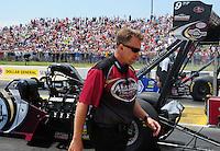 May 19, 2012; Topeka, KS, USA: NHRA crew chief Brian Husen for top fuel dragster driver Shawn Langdon during qualifying for the Summer Nationals at Heartland Park Topeka. Mandatory Credit: Mark J. Rebilas-
