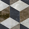 Euclid Grandiose, a hand-cut stone mosaic, shown in polished Kehena, Desert Sky, and honed Orpheus Black, is part of the Semplice® collection for New Ravenna.