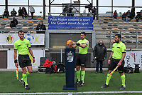 assistant referee Thibault Holvoet , referee Baptiste Federico  taking the matchball and assistant referee Ercan Eray pictured before a female soccer game between RSC Anderlecht Dames and AA Gent Ladies on the fifth matchday of play off 1 of the 2020 - 2021 season of Belgian Womens Super League , saturday 8 th of May 2021  in Brussels , Belgium . PHOTO SPORTPIX.BE | SPP | STIJN AUDOOREN