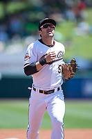 Sacramento RiverCats second baseman Chase D'Arnaud (51) jogs off the field between innings of a Pacific Coast League against the Tacoma Rainiers at Raley Field on May 15, 2018 in Sacramento, California. Tacoma defeated Sacramento 8-5. (Zachary Lucy/Four Seam Images)