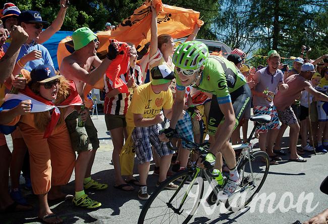 Ryder Hesjedal (CAN/Cannondale-Garmin) experiencing the craziness at the Dutch Corner (nr7) up Alpe d'Huez<br /> <br /> stage 20: Modane Valfréjus - Alpe d'Huez (111km)<br /> 2015 Tour de France
