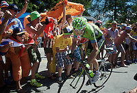 Ryder Hesjedal (CAN/Cannondale-Garmin) experiencing the craziness at the Dutch Corner (nr7) up Alpe d'Huez<br /> <br /> stage 20: Modane Valfréjus - Alpe d'Huez (111km)<br /> 2015 Tour de France