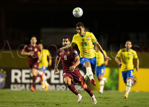 13th November 2020; Morumbi Stadium, Sao Paulo, Sao Paulo, Brazil; World Cup 2022 qualifiers; Brazil versus Venezuela;  Roberto Firmino of Brazil beats Tomás Rincón of Venezuela to the header