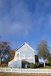 wood frame house, Port Gamble Historic District, Kitsap Peninsula, Puget Sound, Washington State, Pacific Northwest, USA, 1800's small town architecture, autumn,