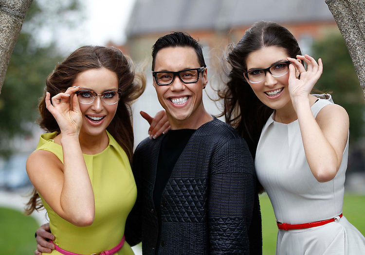 No Repro Fee..Have You Gok The Look?.Fashion and glasses guru Gok Wan enlisted the help of stunning models  Rozanna Purcell (left) and Hannah Devane at a photocall this morning (Friday 9 March 2012), where they celebrated the launch of Gok's latest specs designs in the GW by Gok Wan range from Specsavers..The GW by Gok Wan range is designed personally by Gok with the 13 new styles building on the retro-inspired look of the original range launched in February of last year..GW by Gok Wan is sold exclusively in Specsavers and is available in all 41 Irish Specsavers stores now. Glasses are priced at ?149, including Pentax single vision lenses and scratch-resistant coating as standard..Pic: Robbie Reynolds/CPR...ENDS...For More Information Please Contact:..Suzanne Cairns.Suzanne.Cairns@ogilvy.com.01-6690030.0868945635..Ruth Kavanagh.Ruth.Kavanagh@ogilvy.com.01-6690030.0863640483