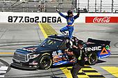 #4: Raphael Lessard, Kyle Busch Motorsports, Toyota Tundra Canac celebrates his win